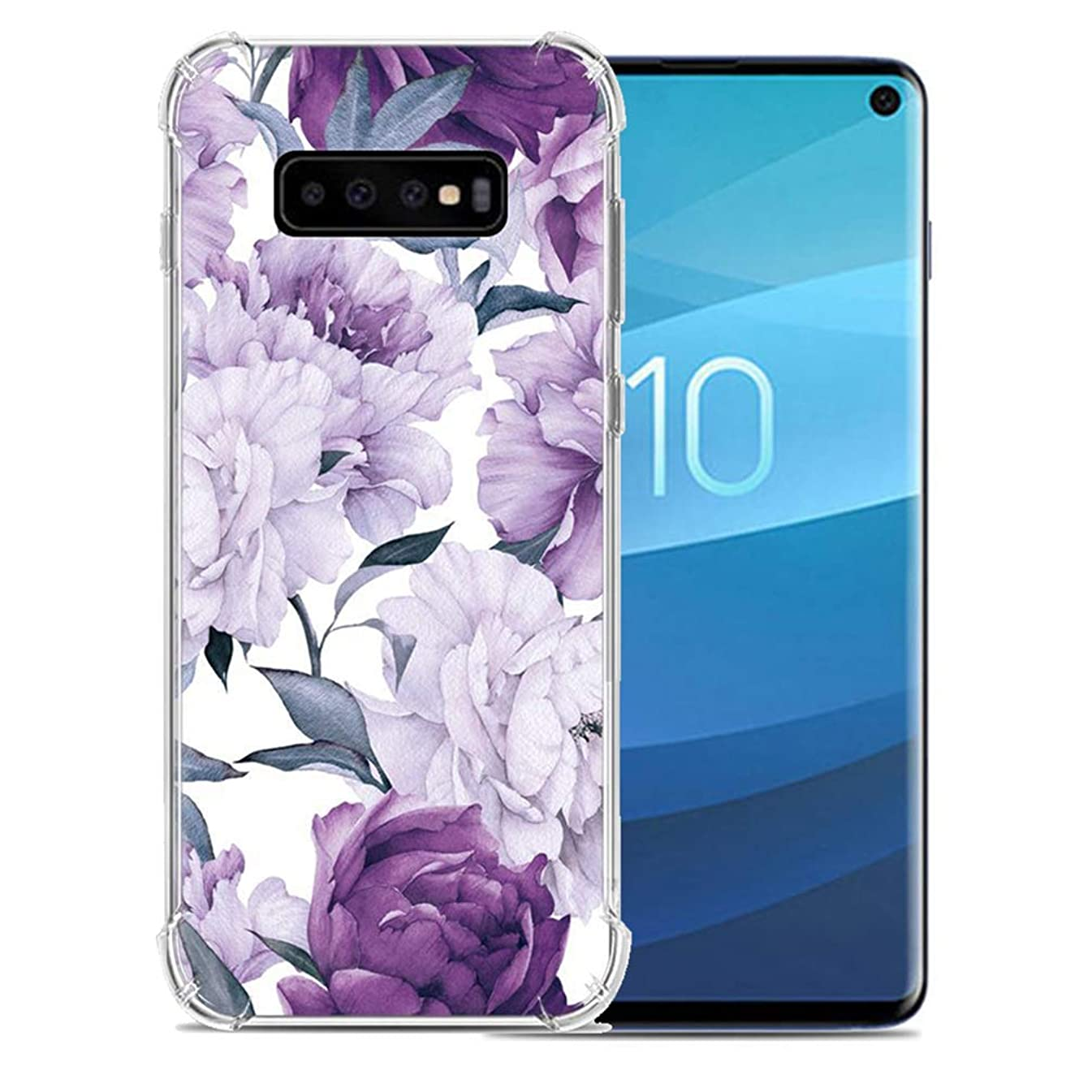 ANERNAI Compatible with Samsung Galaxy S10 2019 Case, Ultra-Thin Pattern Design Soft Flexible TPU Shockproof Cute Anti-Scratch Cover Case (Purple Flower)