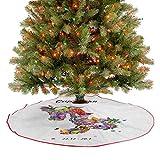 Falda rústica para árbol de Navidad, composición de flores de primavera con follaje y mariposas, fin...