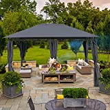 10X13FT Outdoor Patio Gazebo Canopy,Outdoor Instant Canopy with Shade Curtains ,Soft Top Pergola 2-Tier Steel Frame Gazebo for Patio,Sturdy Straight Leg Tent for Backyard,Party,Event (10X13FT, Grey)