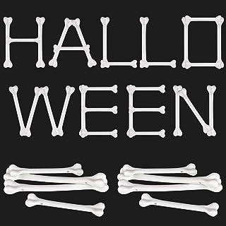 meekoo 36 قطعه سفید پلاستیک استخوان استخوان هالووین استخوان هالووین اسکلت دکوراسیون برای لوازم لباس تم Caveman