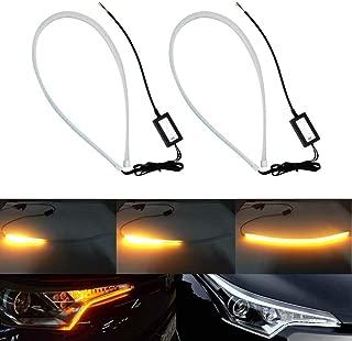 luci di Striscia a LED DRL Luci di retromarcia e indicatori di direzione Tubo Adatto per Auto Most12V,RedYellow,30cm Luci di Marcia Diurna da 2 Pezzi