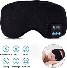 Antifaz para Dormir Bluetooth, HailiCare Auriculares Música de Dormir Bluetooth con Manos Libres, Micrófono Integrado, Altavoces Integrados, para Viajes, Oficina, Dormir, Yoga, Ajustable, Lavable