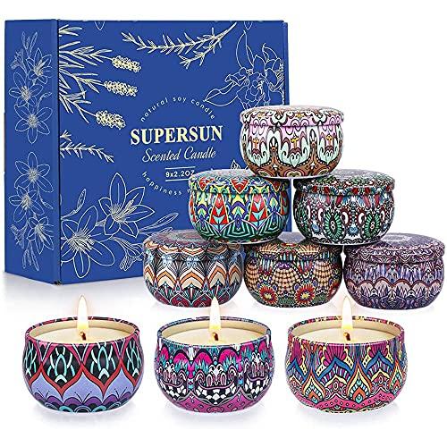 SUPERSUN Velas Aromaticas para Regalo, 9 x 2.5oz Velas Perfumadas Cera de Soja, 135-180 Horas Aromaterapia Velas Rosa Lavanda Vainilla, Regalos Originales para Mujer, Día de Madre, San Valentín