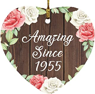 66th Birthday Amazing Since 1955 - Heart Wood Ornament A Christmas Tree Hanging Decor - for Friend Kid Daughter Son Grand-...