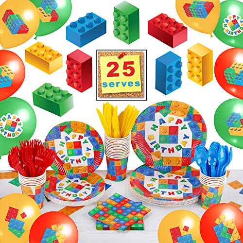 Building Block Birthday Party Supplies by Aliza | Baby Boy Toddler Kids Birthday Brick Decorations – Cups Plates Signs Napkins Balloons Tablecloth Utensils – Decorations for Boys and Girls – Serves 25