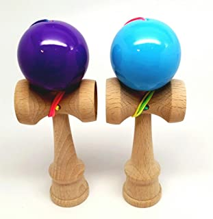 KENDAMA TOY CO. - The Best Pocket Kendama For All Kinds Of Fun (not full size) - 2-Pack - Awesome Colors: Purple and Blue Kendama Set - Solid Wood - A Tool To Create Better Hand And Eye Coordination