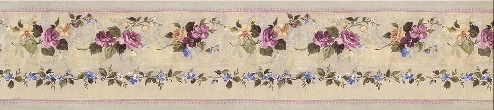 Wallpaper Border Pink Green Violet Floral 5.25
