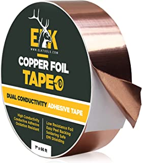ELK Copper Foil Tape with Conductive Adhesive - Slug and Snail Repellent, Stained Glass, Arts and Crafts, Guitar, EMI Shie...