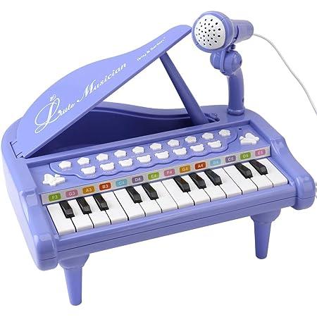Amy & Benton Mini Juguete de Piano con 24 Teclas, Regalo del Bebé para niñas Piano Teclado Juguete con Micrófono, Instrumento Educativo con Luces y ...