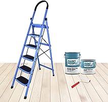 Plantex Premium Steel Folding Step Ladder for Home - Wide Anti Skid Steps (Blue & Black) (6 Step)