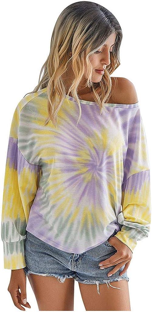 Women's Tops Off The Shoulder Tie-Dye Printed Casual Crew Neck Long Sleeves Color Block Pullover Sweatshirt Blouse Tops