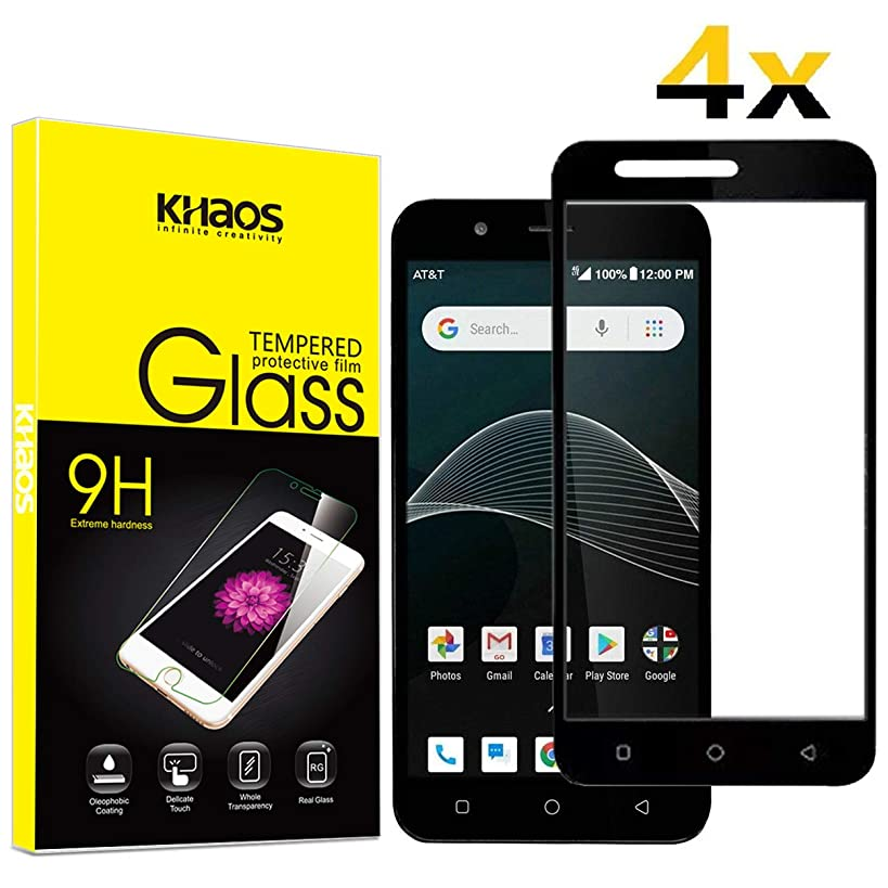for AT&T AXIA QS5509A Screen Protector, [4 Pack] KHAOS Full Screen Coverage Tempered Glass Screen Protector for Cricket Wireless Vision 9H HD-Clear Ant-Scratch Glass Protector -Black