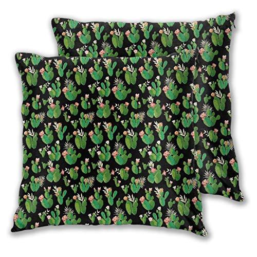 VINISATH Set de 2 Funda de Cojín 45x45cm Cactus Fundas de Almohada para Cojines Decorativos para Sofá Cama Coche Hogar