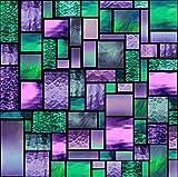 LLX - Pellicola decorativa statica per finestra, motivo geometrico a macchia funky, con blocco UV, 45 x 165 cm