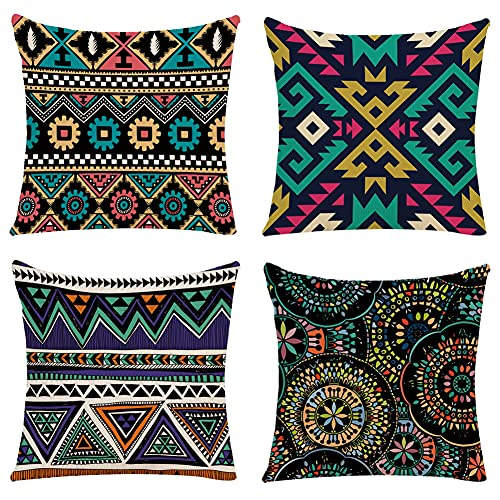Dusenly 4 Pack Boho Throw Pillow Covers Bohemian Decorative Square Boho Cushions for Home Decoration Sofa Bedroom Car Floral Outdoor Cushions, 18 * 18 inch