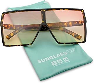 1c6f8b627e Big XL Large Oversized Super Flat Top Square Two Tone Color Fashion  Sunglasses