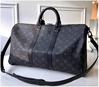 MARIA SCHROEDER Production Iconic Famous DUFFLE BAG BIG Size 45 cm Black Beautiful Color Canvas Material With Logos Casual Travel Luggage Sport Fitness Gym Leather Handles with Crossbody Strap