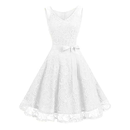 Kidsform Women Lace Dress Floral Vintage A-Line Evening Wedding Party Short Cocktail Skater Swing Bridesmaid Dresses with Belt
