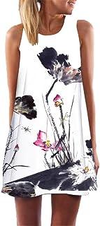 VEMOW Frauen Damen Sommer ärmellose Blume Gedruckt Tank Top Casual Schulter T-Shirt Tops Blusen Beiläufige Karneval Bluse