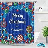 bbbbbb Frohe Weihnachten Süßigkeiten Duschvorhang Futter Bad Polyester Stoff Haken