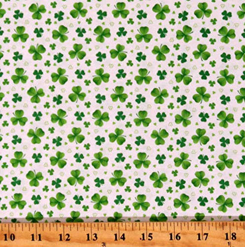 Cotton Lucky Clovers Shamrocks St Patrick's Day Irish Pot of Gold White Cotton Fabric Print by The Yard (D567.86)