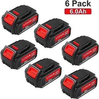 6 Packs 6000mAh 20 Volt MAX Replace for Dewalt 20V Battery Lithium-ion DCB205-2 DCB205 DCB203 DCB200 DCB201-2 DCB201 DCB200 Cordless Power Tool