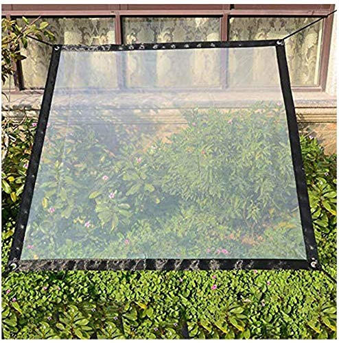 NLRHH Glass Clear Tarpaulin Waterproof Heavy Duty Balcony Curtain PVC Plastic Sheet Metal Ring Hole Easy To Install Outdoor Car Cover, 7 Sizes (Color : Clear, Size : 1.0X1.0M)