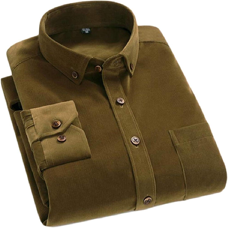 274893b4e8 Tymhgt-CA Mens Solid Slim Fit Corduroy Long Sleeve Button Down Down Down  Dress Shirts 43ed2e
