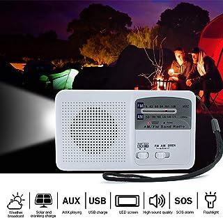 Goofly Solar Powered Hand Radio Flashlight USB Charging Emergency Charger Emergency Alarm