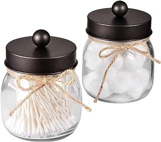 Mason Jar Bathroom Apothecary Jars - Rustproof Stainless Steel Lid,Farmhouse Decor,Bathroom Vanity Storage Organizer Holder Glass for Cotton Swabs,Rounds,Ball,Flossers,Bath Salts (Bronze, 2-Pack)