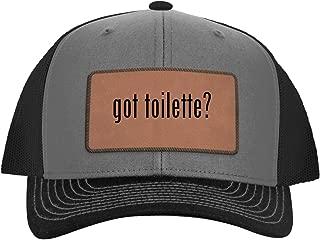 One Legging it Around got Toilette? - Leather Dark Brown Patch Engraved Trucker Hat