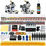 Solong Tattoo Complete Tattoo Kit 2 Pro Machine Guns 54 Inks Power Supply Foot Pedal Needles Grips Tips TK271