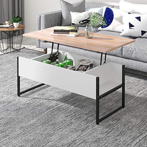 Joolihome Table basse relevable avec espace de rangement caché pour la maison et le bureau, mobilier de salon en bois et métal, table idéale pour recevoir, dîner, travailler