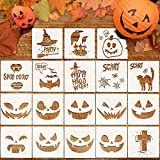 Whaline 18 Pcs Halloween Plastic Painting Stencils, Reusable Pumpkin Expression Templates for...