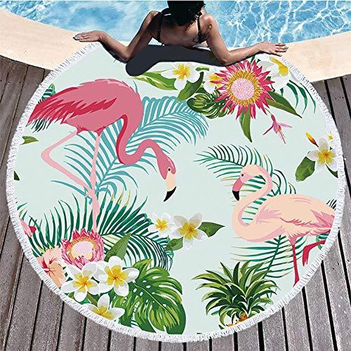 Boyouth Toalla de playa redonda, flores coloridas, hojas tropicales, piña y flamenco, estampado azul con borlas, toalla multiusos ultra suave, superabsorbente de agua, 59 pulgadas de diámetro