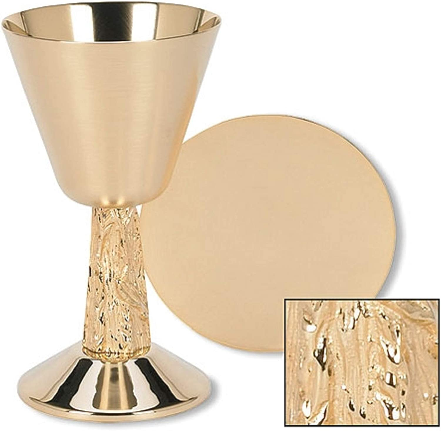 Stratford Chapel gold Tone Satin Cup with Hand Cast Vine Stem Chalice and Paten Set, 7 1 4 Inch