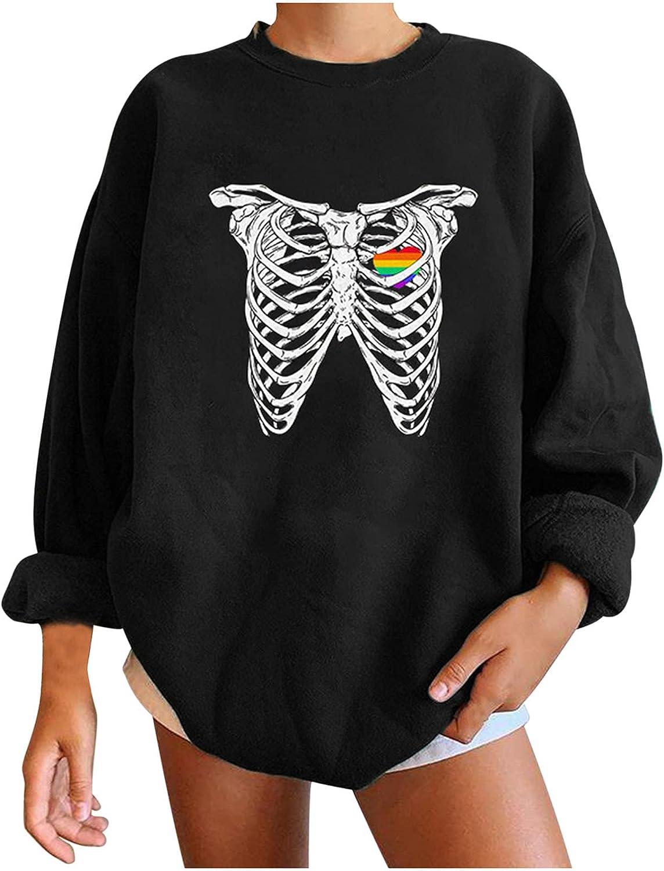 RFNIU Women's Halloween Printed Long Sleeve O-neck Sweater Fall Fashion Casual Loose Comfortable Pullover