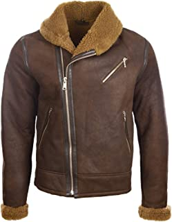 Aviatrix Men's Real Leather Shearling Fashion Jacket with Shawl Collar (OBRS)
