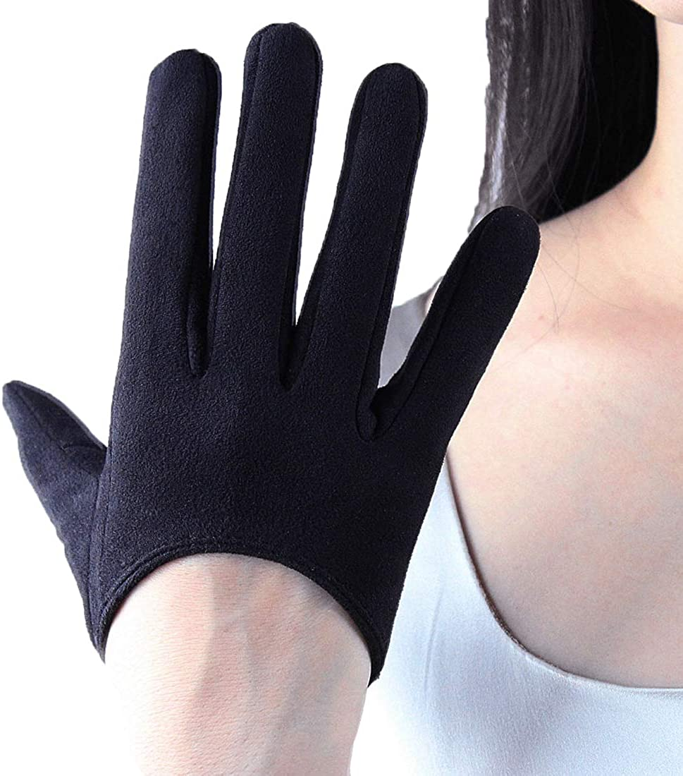 TECH GLOVES Extra Short Faux Patent Leather Shine Touchscreen Sensitive