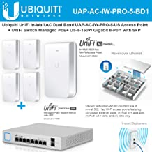 UniFi in-Wall AC UAP-AC-IW-PRO-5-US Dual Band Access Point with UniFi Switch Managed PoE+ US-8-150W Gigabit 8-Port with SFP 150W