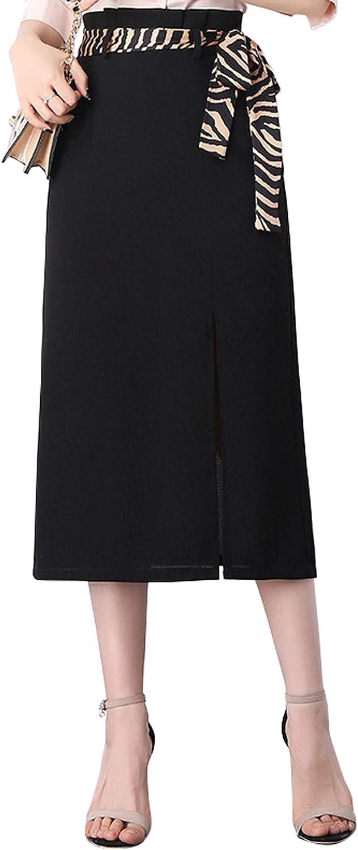 CHARTOU Women's Chic Tiger Print Split Packaged Hip Office Work Pencil Skirt
