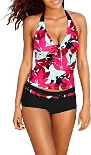 2019 clearance sale Women Tankini Sets with Boy Shorts Ladies Swimwear Two Piece Swimsuits(,)