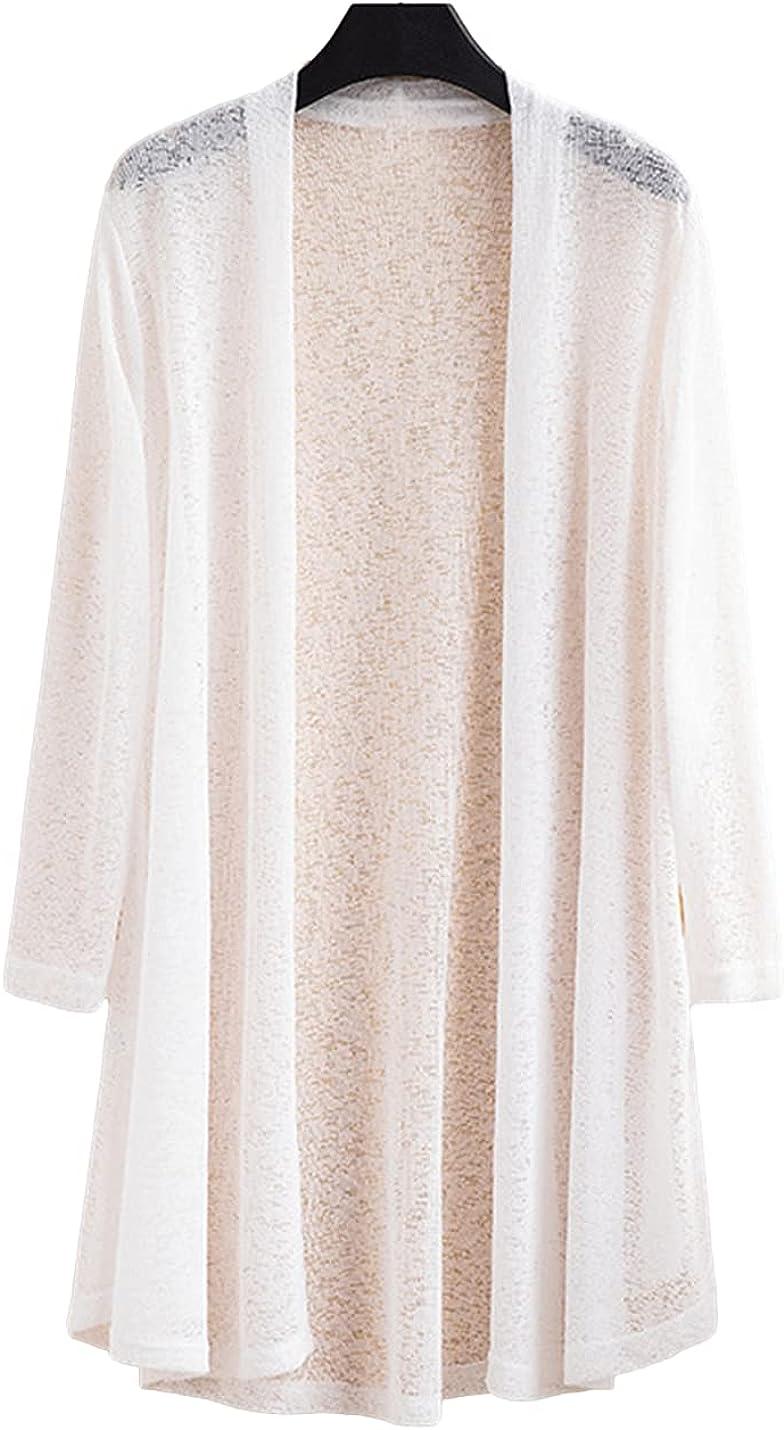 FindThy Women's 3/4 Sleeve Long Cardigan Sheer Lace Mesh Kimono Knitwear Cover Up