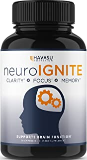 Havasu Nutrition Extra Strength Brain Supplement for Focus, Energy, Memory and Clarity, Mental Performance Nootropic with ...