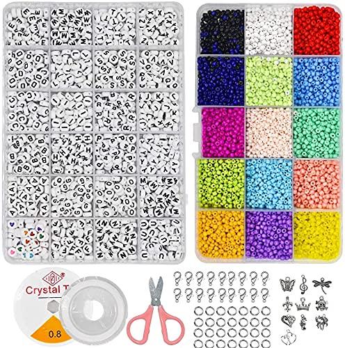 ZesNice Perlen zum Auffädeln, Mini Glasperlen und Buchstabenperle Set, Buchstaben Perlen für Armband Haarband Schmuck Basteln Bastelset Schnur Set (39 Gitter)