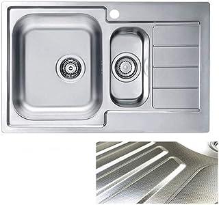 VBChome: Einbauspüle mit Hahnloch Rechts 790x500 mm Camping Küchenspüle - Leinenstruktur Alveus Line 70 Spülbecken EDELSTAHL Camping 1,5 Becken Ablaufgarnitur