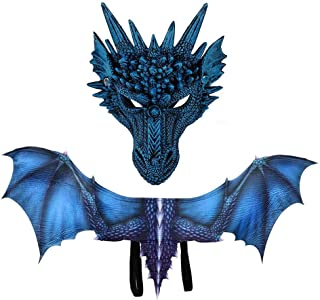 Dragon Wings, Wing Mask Sets, Dragon Wings Costume for Dinosaur Pretend Play Party, Masquerade, Carnival, Cosplay Party - Halloween Wings for Boys Girls Adult