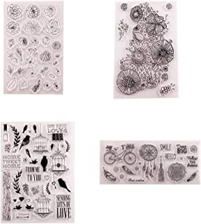 Welcome to Joyful Home 4pcs/Set Flower Bicycle Feather Bird Rubber Clear Stamp for Card Making Decoration and Scrapbooking