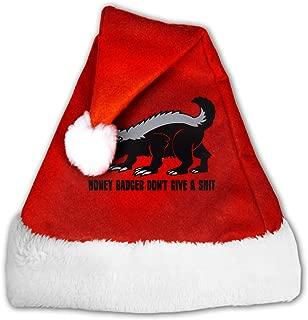 FQWEDY Honey Badger Unisex-Adult's Santa Hat, Velvet Christmas Festival Hat