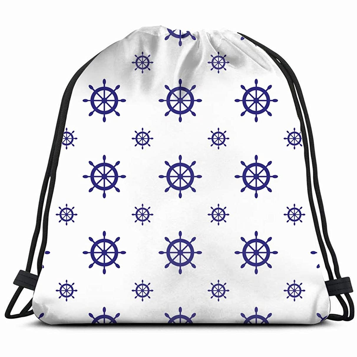 nautical ship wheels design anchor Drawstring Backpack Gym Sack Lightweight Bag Water Resistant Gym Backpack for Women&Men for Sports,Travelling,Hiking,Camping,Shopping Yoga
